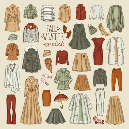 Vector illustratie van vrouwelijke herfst en winter mode-collectie van kleding. Hand-verdrink objecten schetsen met jassen, jurken, rokken, broeken, mutsen, handschoenen, sokken. Vector Illustratie