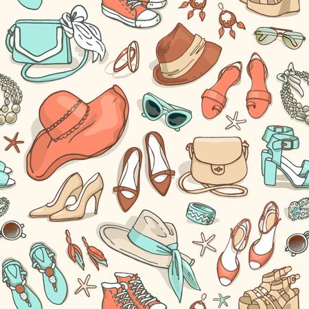 手靴バッグや女性のファッション アクセサリーのシームレスなパターンを描画ベクトル  イラスト・ベクター素材