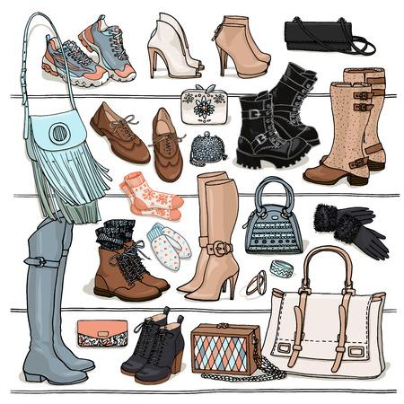 手描きの背景女性ファッション小物のイラスト。棚の上の靴やバッグの側面図です。秋と冬の靴、ブーツ、バッグのセット。ファッション コレクシ  イラスト・ベクター素材