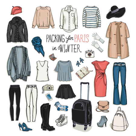 Vector illustration of packing for Paris in winter. Sketch of clothes and accessories for design. Female fashion collection set. Winter travel luggage.