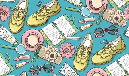 手は、靴、ノート、一杯のコーヒー、カメラ、メガネ、ペン、日焼け止め、ペイント、花の管とシームレスなパターン ベクトルを描画します。印刷