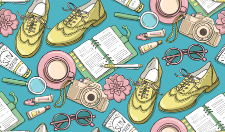 Hand drawn vector seamless pattern with shoes, notebook, cup of coffee, camera, glasses, pen, sunscreen, tubes of paint, flowers. Can use for print, web, fabric. Ilustração