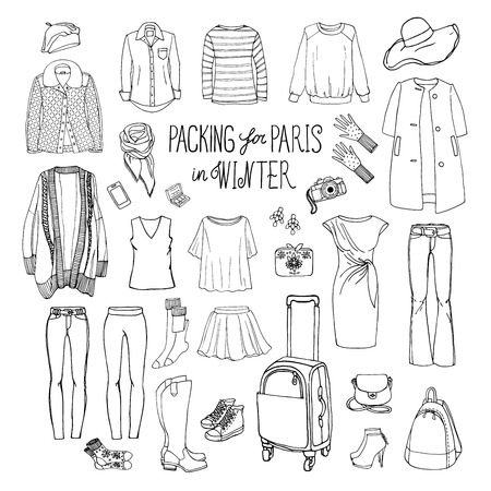 knee sock: Vector illustration of packing for Paris in winter. Sketch of clothes and accessories for design. Black and white woman fashion collection set. Winter travel luggage.