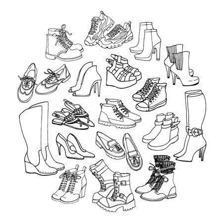 wellingtons: Vector illustration of female shoes, boots set. Hand-drown footwear illustrations. Black and white doodle fashion collection. Illustration