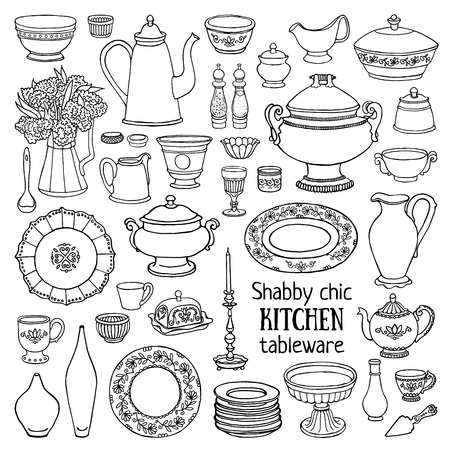 dishes set: Hand drawn illustration shabby-chic style kitchen set. Black and white sketch of dishes isolated on white background