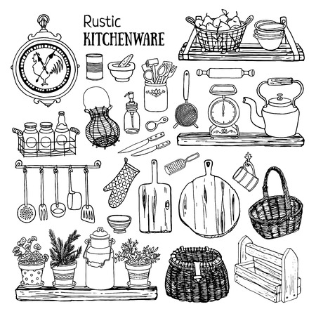 Hand drawn illustration rustic kitchen set. Black and white sketch of dishes isolated on white background