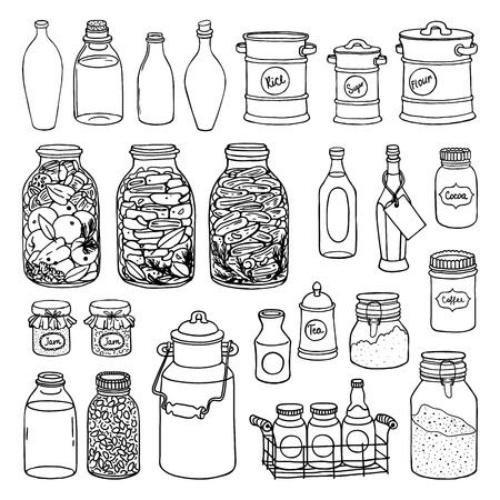 Hand drawn illustration set of different shape jars and bottle. Black and white sketch of canning