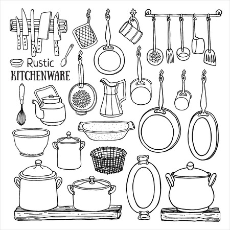 country kitchen: Hand drawn set of  rustic kitchen. Black and white sketch of pots and pans on the shelves isolated on white background. Doodle illustration of dishes in country style Illustration