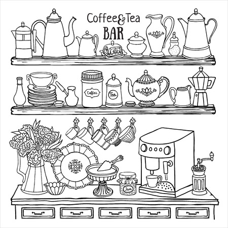 side bar: Hand drawn set of  coffee and tea bar. Black and white sketch of pots, cups, coffee machine in the cupboard. Doodle illustration of dishes on the shelves