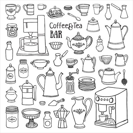 black coffee: Hand drawn set of  coffee and tea bar. Black and white sketch of pots, cups, coffee machine in the cupboard. Doodle illustration of dishes Illustration