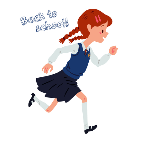 go back: Cute girl go back to school. Vector hand drown illustration of small girl in uniform isolated on white background Illustration