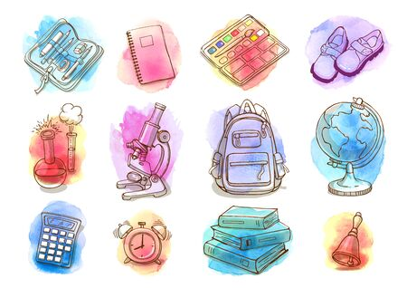 Hand drawn watercolor school and education icon set. Doodle back to school background. Illustration
