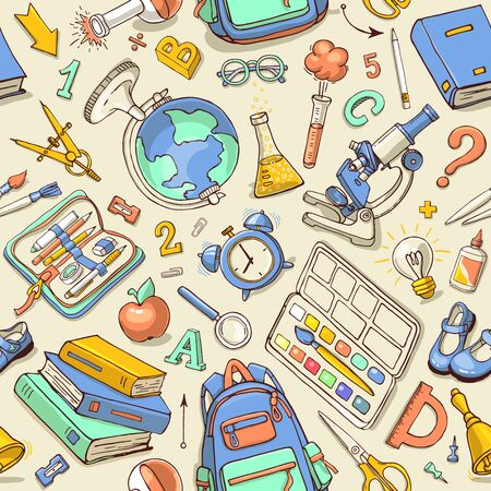 Vector seamless pattern of school supplies in notebook. Back to school colorful sketchy elements. Can be used for fabric, wallpaper, pattern fills, textile, web page background. Vettoriali