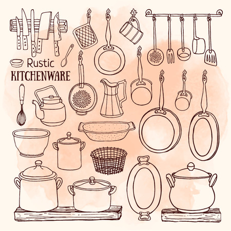 pans: set of  rustic kitchen. Sketch of pots and pans on the shelves on the watercolor background. Doodle illustration of dishes in country style Illustration