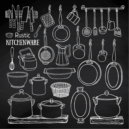 set of rustic kitchen. Sketch of pots and pans on the shelves on the blackboard. Doodle illustration of dishes in country style