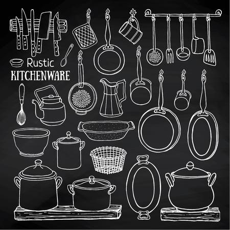set van rustieke keuken. Schets van potten en pannen op de planken op het bord. Doodle illustratie van de gerechten in landelijke stijl