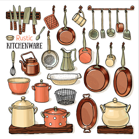 Veel pannen opknoping in een rustieke keuken. schetsmatig collectie met potten, braden-pannen, messen, theepot op een witte achtergrond