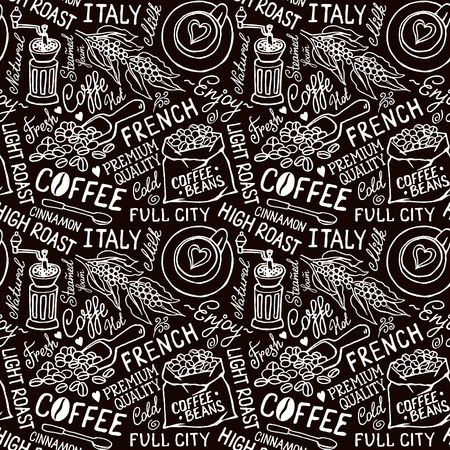 coffee beans white background: Seamless vector black and white pattern with coffee beans, bag of coffee, coffee mill, cups, lettering. Hand-drown vintage background. Illustration