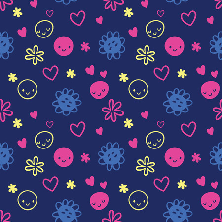 smileys: Vector seamless baby pattern with smileys, flowers, harts