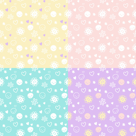 smileys: Seamless vector baby pattern set with smileys, flowers, harts. Yellow, pink, turquoise violet colors