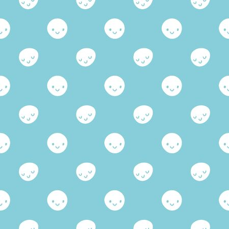smileys: Vector seamless baby pattern with smileys. Blue and white colors polka dots template Illustration