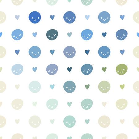 Vector patrón de bebé sin problemas con emoticonos. Rosa, azul, verde, turquesa y los colores blanco plantilla de lunares