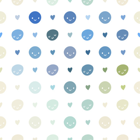 smileys: Vector seamless baby pattern with smileys. Pink, blue, green, turquoise and white colors polka dots template