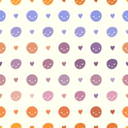 smileys: Vector seamless baby pattern with smileys. Pink, violet, orange and white colors polka dots template Illustration