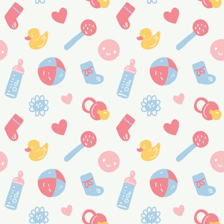 Vector patrón de bebé sin problemas con juguetes, emoticonos, bottel, calcetines, ciervos y flores. colores rosa, azul, amarillo y blanco