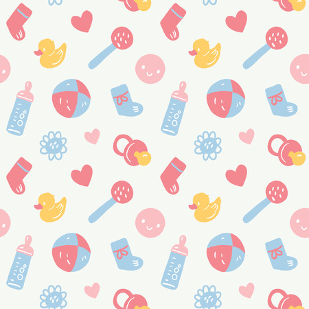 beanbag: Vector seamless baby pattern with toys, smileys, bottel, socks, harts and flowers. Pink, blue, yellow and white colors