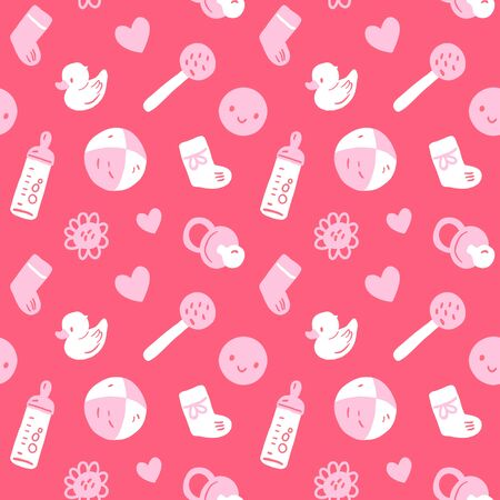boll: Vector seamless baby pattern with toys, smileys, bottel, socks, harts and flowers. Pink white colors Illustration