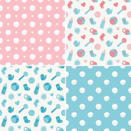 Naadloze vector babypatroon set met speelgoed, smileys, bottel, sokken, hartjes en bloemen. Roze, turkoois, blauwe en witte kleuren