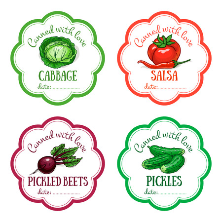 Set of vector labels with hand drawn vegetable. Templates for design can be used as sticker on jar, preserving, farmers market, organic food store. Cabbage, tomato, cilli, beet, pickles, salsa 向量圖像