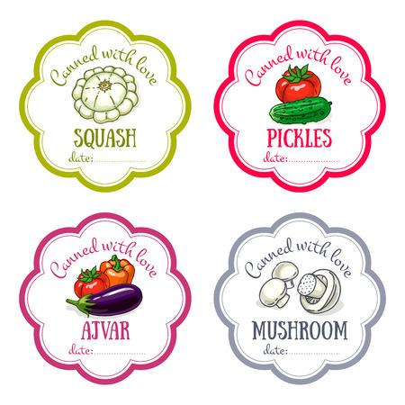 ベクトルのラベルは、手描きの野菜で設定します。デザインのテンプレートは、缶詰の jar ファイル保存、ファーマーズ ・ マーケット、食料品店の  イラスト・ベクター素材