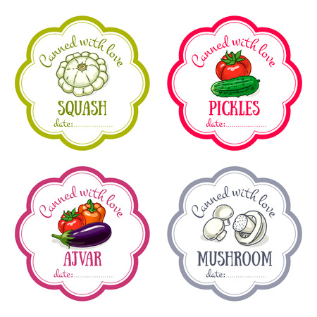 Vector labels set with hand drawn vegetable. Templates for design can be used as sticker on canned jar, preserving, farmers market, food store. Squash, pickles, tomatoes, mushroom, eggplant, pepper, cucumber Ilustração