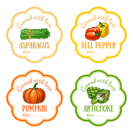 Set of vector labels with hand drawn vegetable. Templates for design can be used as sticker on canned jar, preserving, farmers market, organic food store. Asparagus, bell pepper, pumpkin, artichoke
