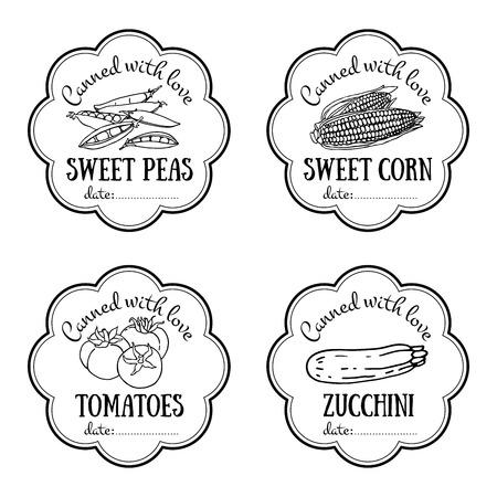 手描き野菜とベクトルのラベルのセットです。黒と白のデザインのテンプレートは、缶詰の jar、ファーマーズ ・ マーケット、有機食品店にステッ