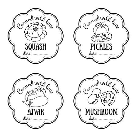 ベクトルのラベルは、手描きの野菜で設定します。デザインのテンプレートは、缶詰の jar、ファーマーズ ・ マーケット、食料品店にステッカーと  イラスト・ベクター素材
