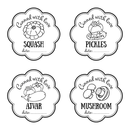 pickles: Vector labels set with hand drawn vegetable. Templates for design can be used as sticker on canned jar, farmers market, food store. Squash, pickles, tomatoes, mushroom, eggplant, pepper, cucumber