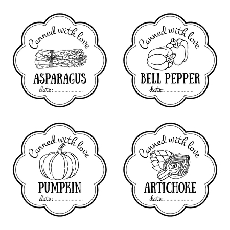 Set of vector labels with hand drawn vegetable. Black and white templates for design can be used as sticker on canned jar, farmers market, organic food store. Asparagus, bell pepper, pumpkin, artichoke