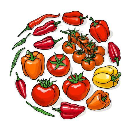 野菜セットの大ざっぱなベクター イラストです。トマトと唐辛子は、白い背景で隔離の手描きのコレクションです。  イラスト・ベクター素材