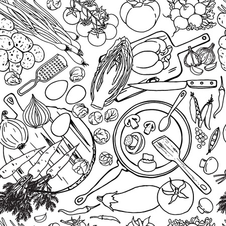 Vegetarian food recipes seamless pattern with vegetables and kitchenware. Black and white top view cooking items background.