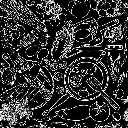 野菜とキッチン用品のベジタリアン料理レシピ シームレス パターン。黒と白の平面図料理黒板上のアイテムです。