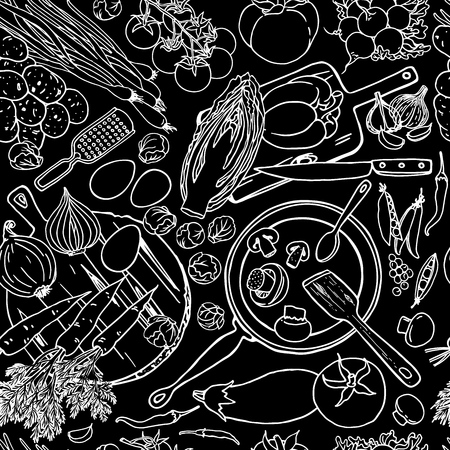 Vegetarian food recipes seamless pattern with vegetables and kitchenware. Black and white top view cooking items on chalkboard.