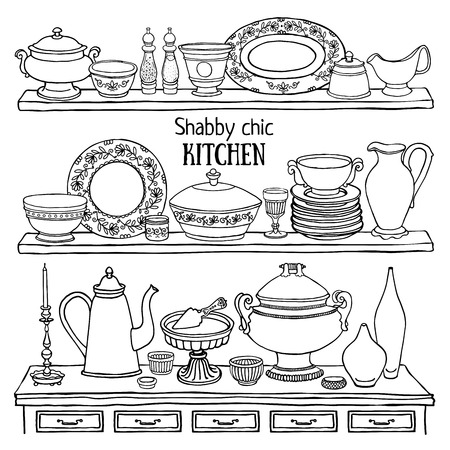 Vector cute set of kitchenware decoration as retro applique in shabby chic style. Doodle sketchy kitchen shelves with dishes isolated on white
