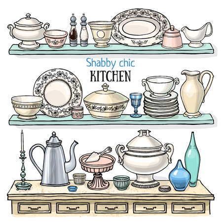 blue white kitchen: Vector cute set of kitchenware decoration as retro applique in shabby chic style. Pastel color sketchy kitchen shelves with dishes isolated on white Illustration
