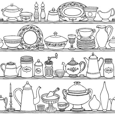ぼろぼろのシックなキッチン調理道具とシームレスなパターンをベクトル。描かれた食品を手、白と黒の概要の背景を飲みます。側のベクトル図は  イラスト・ベクター素材