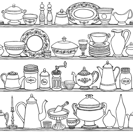 Shabby chic kitchen vector seamless pattern with cooking items. Hand drawn food and drink outline background in black and white. Vector illustration of side view sketchy kitchenwear on shelves.