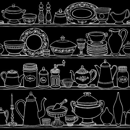 ぼろぼろのシックなキッチン調理道具とシームレスなパターンをベクトル。手の描かれた食品と黒板概要背景を飲みます。側のベクトル図は、棚に  イラスト・ベクター素材
