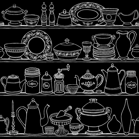 Shabby chic kitchen vector seamless pattern with cooking items. Hand drawn food and drink outline background on blackboard. Vector illustration of side view sketchy kitchenwear on shelves.